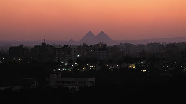 Pyramids of Giza on the Horizon
