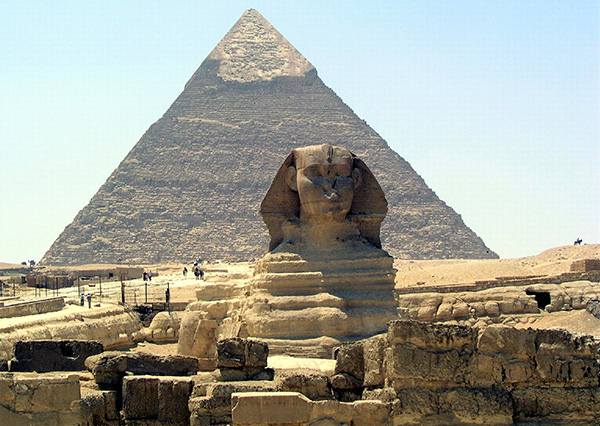 Sphinx and Capped Pyramid in Giza