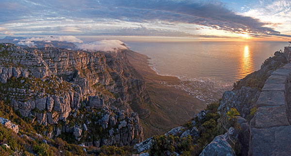 Sunset View from Table Mountain in South Africa