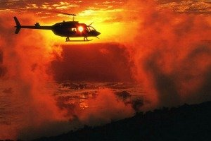 Victoria Falls helicopter at sunset