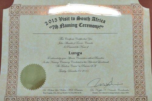 John Almeida's Naming Certificate