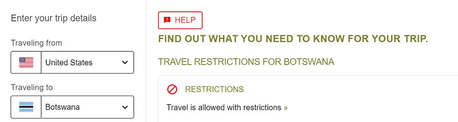 Botswana Travel Restrictions