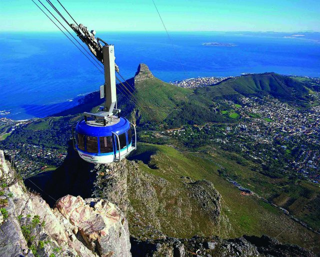 A cable car going to the top of Table Mountain in Cape Town, South Africa